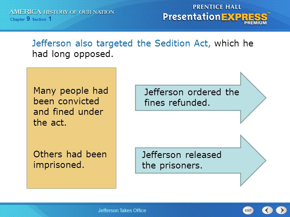 Jefferson also targeted the Sedition Act, which he had long opposed.