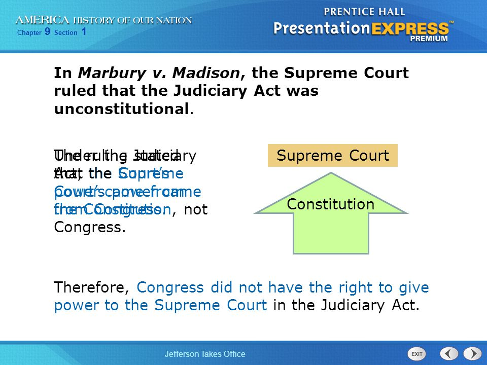 In Marbury v. Madison, the Supreme Court ruled that the Judiciary Act was unconstitutional.