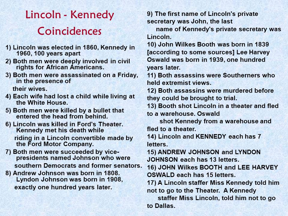 Lincoln - Kennedy Coincidences