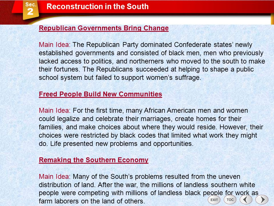 Sec 2: Reconstruction in the South