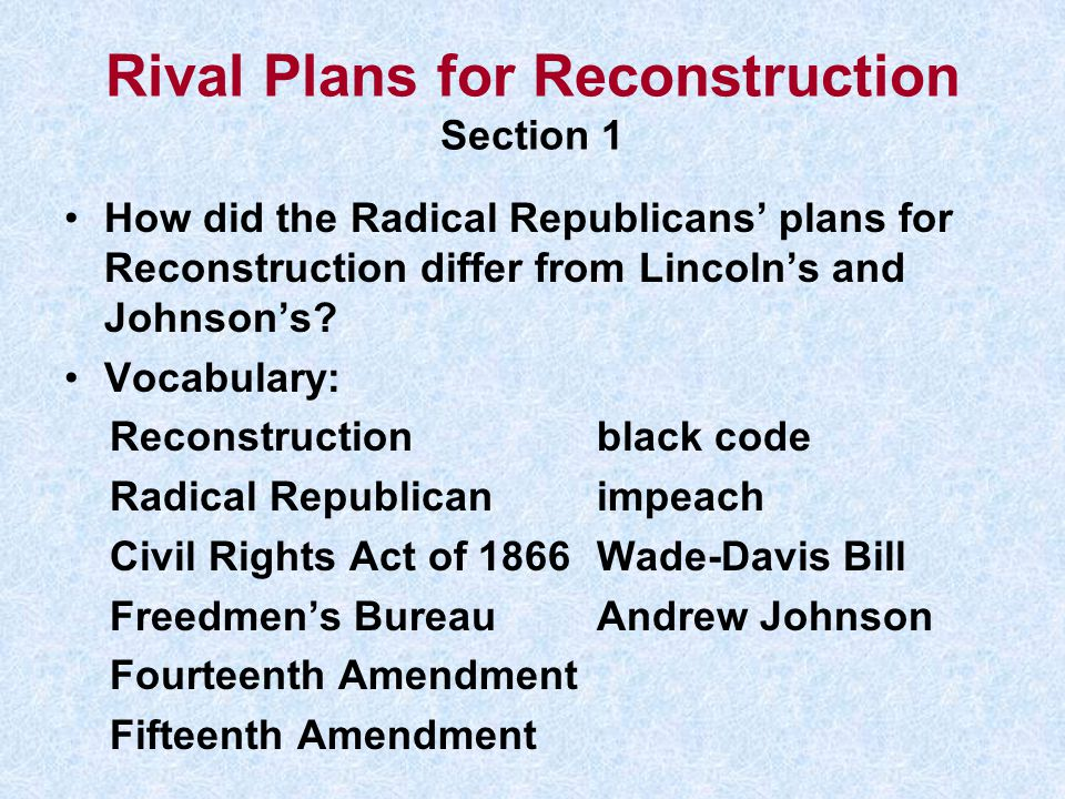 Rival Plans for Reconstruction Section 1