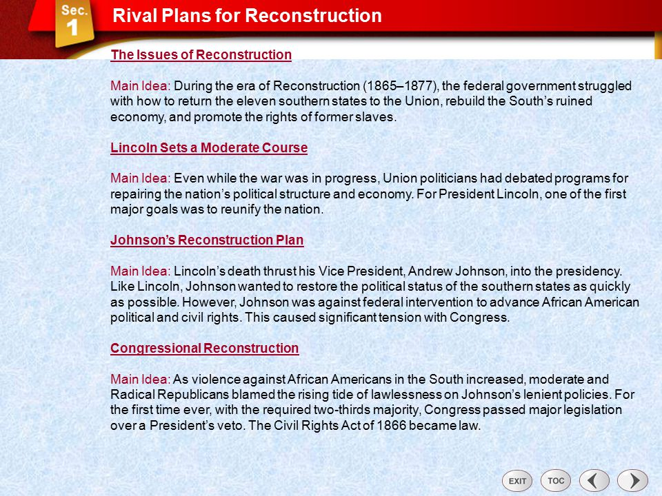 Why was reconstruction a failure