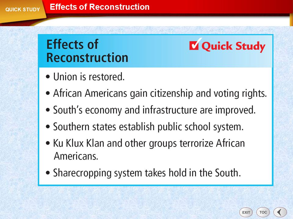 Effects of Reconstruction