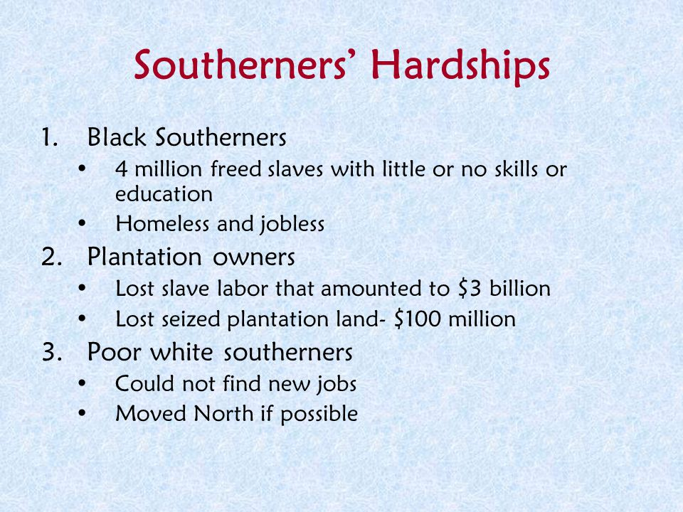 Southerners' Hardships