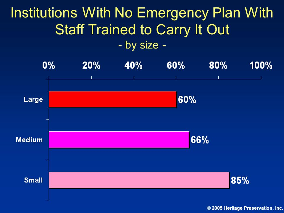 Institutions With No Emergency Plan With Staff Trained to Carry It Out - by size -
