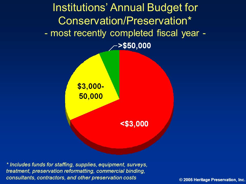 Institutions' Annual Budget for Conservation/Preservation