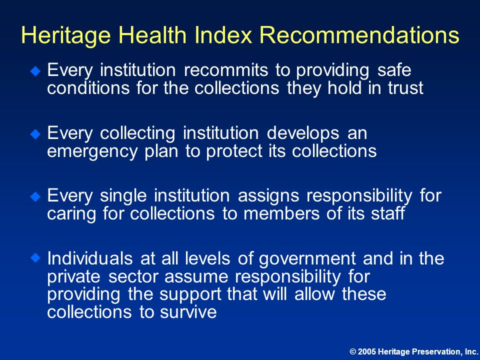Heritage Health Index Recommendations