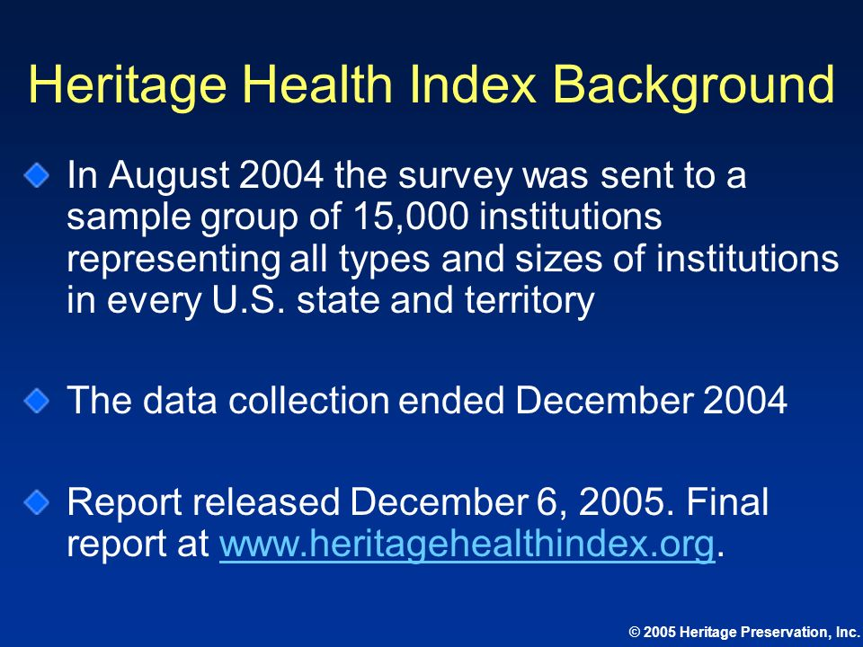 Heritage Health Index Background