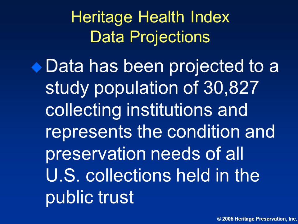 Heritage Health Index Data Projections