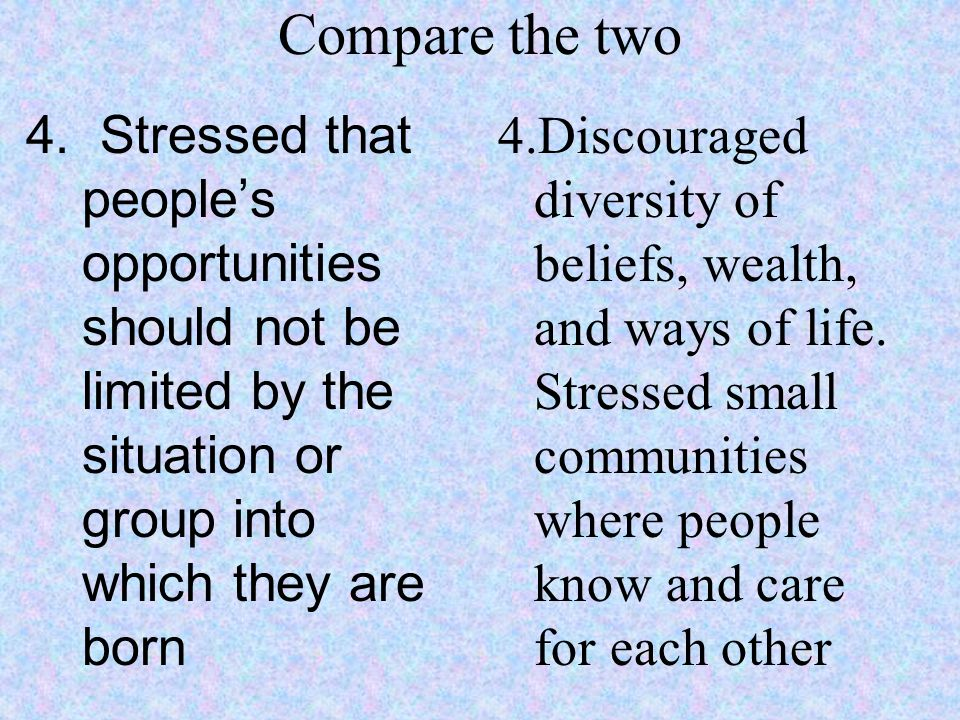 Compare the two 4. Stressed that people's opportunities should not be limited by the situation or group into which they are born.