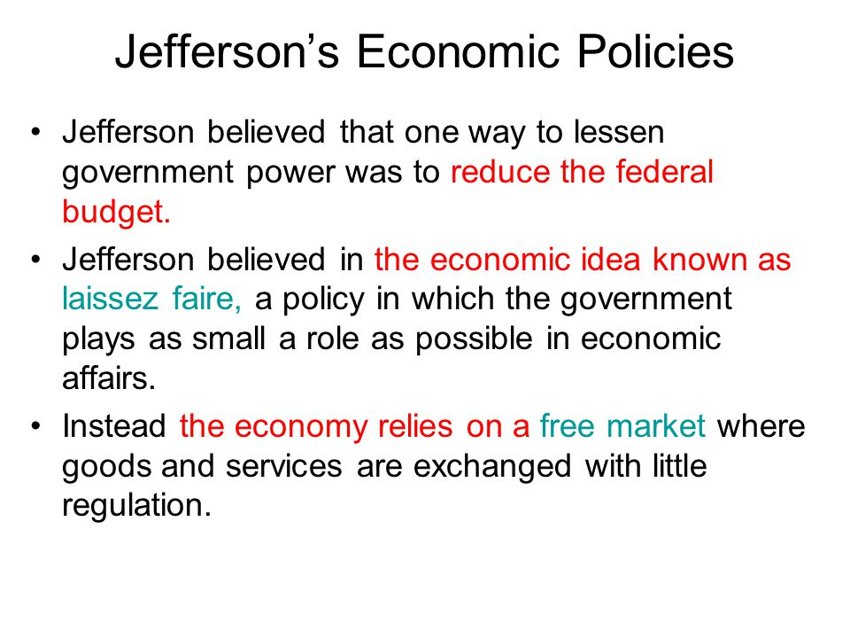 Jefferson's Economic Policies