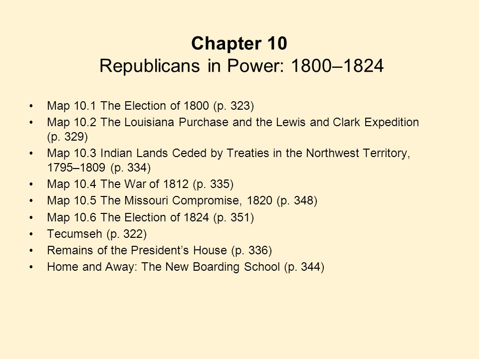 Chapter 10 Republicans in Power: 1800–1824