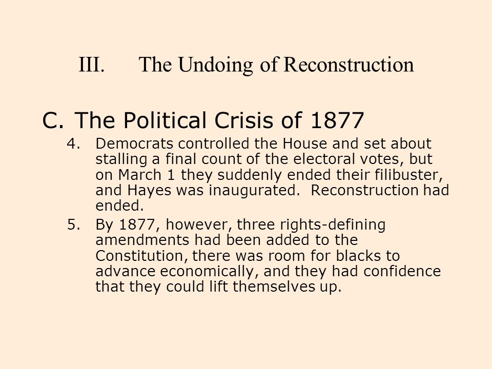 The Undoing of Reconstruction