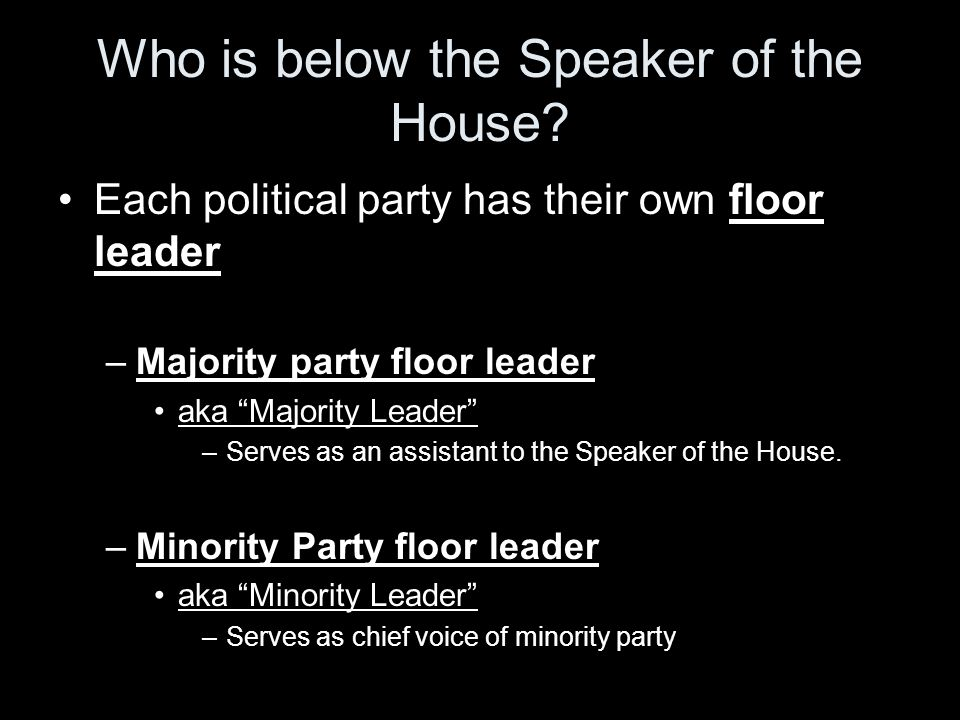Who is below the Speaker of the House