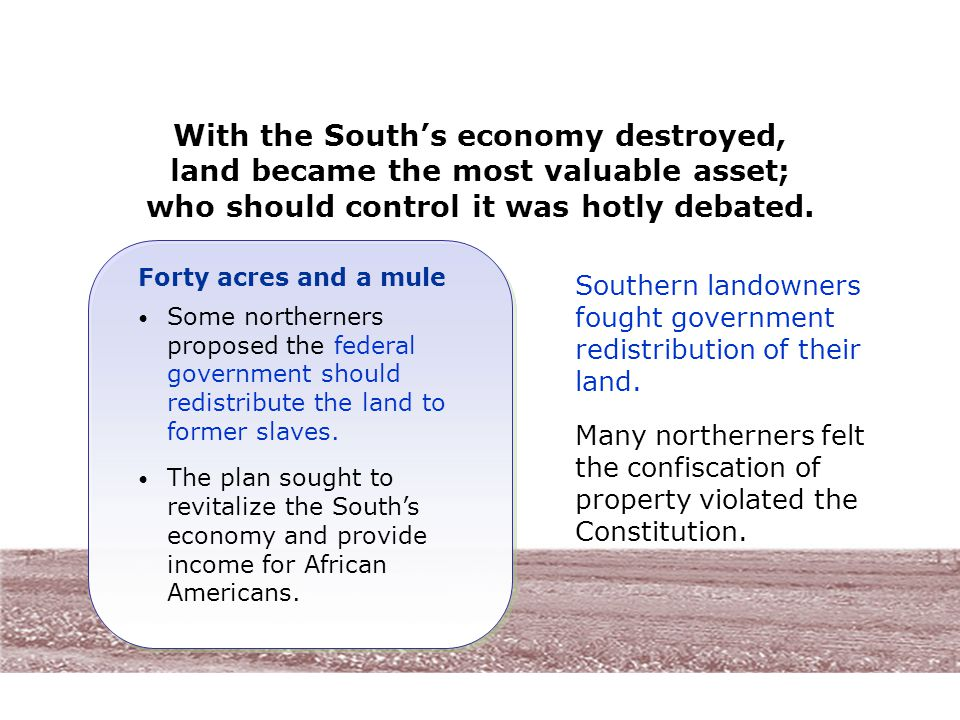 With the South's economy destroyed, land became the most valuable asset; who should control it was hotly debated.