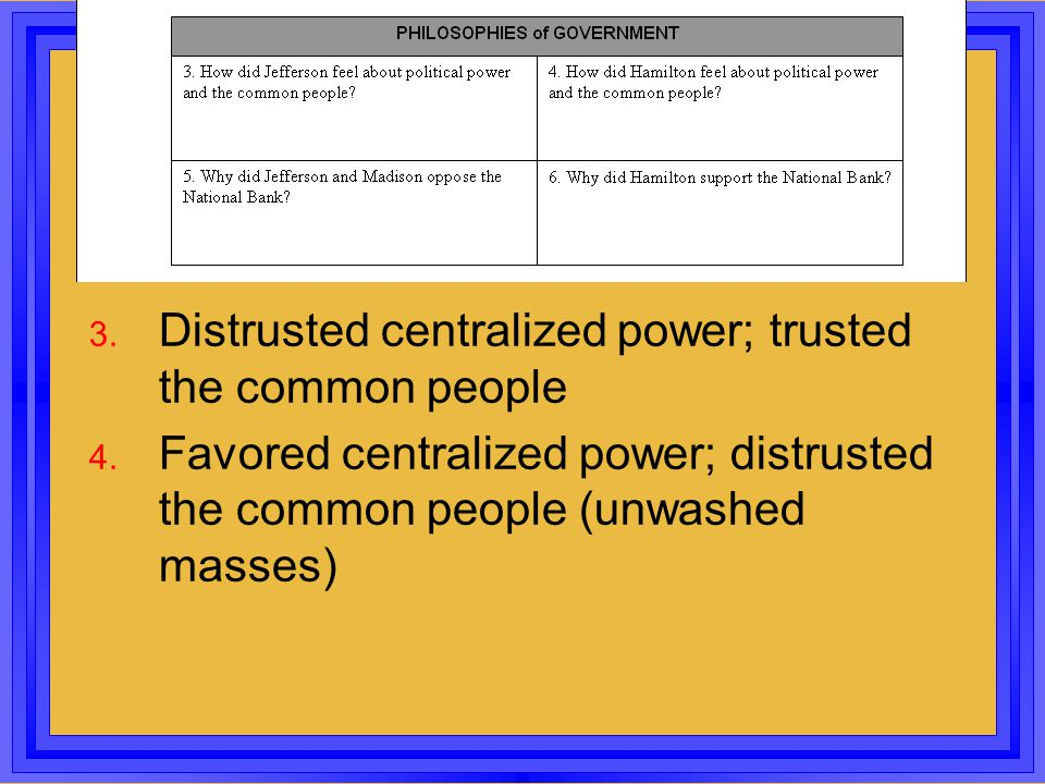 Distrusted centralized power; trusted the common people