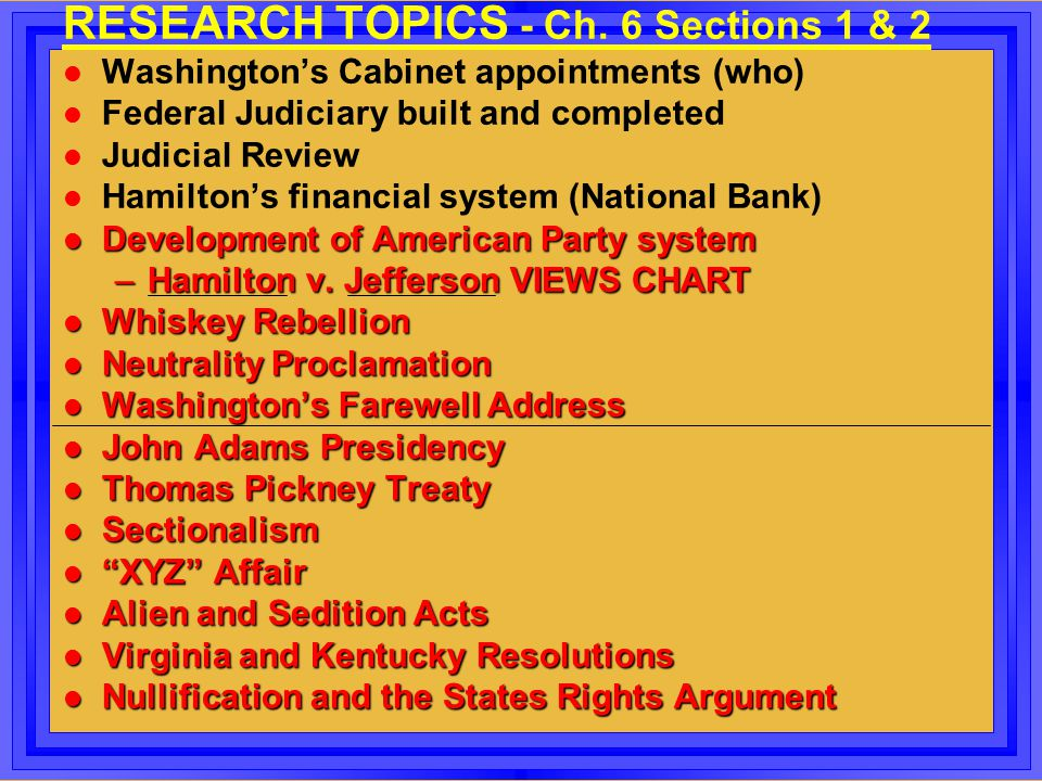 RESEARCH TOPICS - Ch. 6 Sections 1 & 2