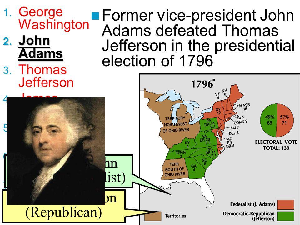 George Washington John Adams. Thomas Jefferson. James Madison. James Monroe. John Q. Adams. Andrew Jackson.