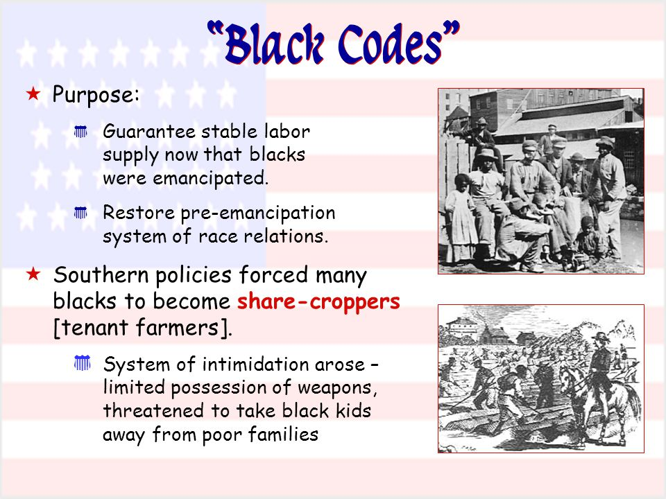 Black Codes Purpose:
