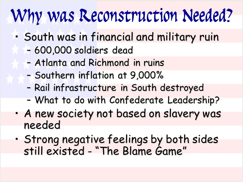 Why was Reconstruction Needed