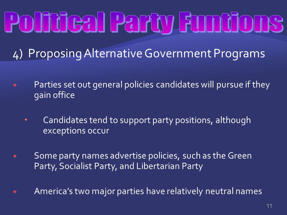 Political Party Funtions