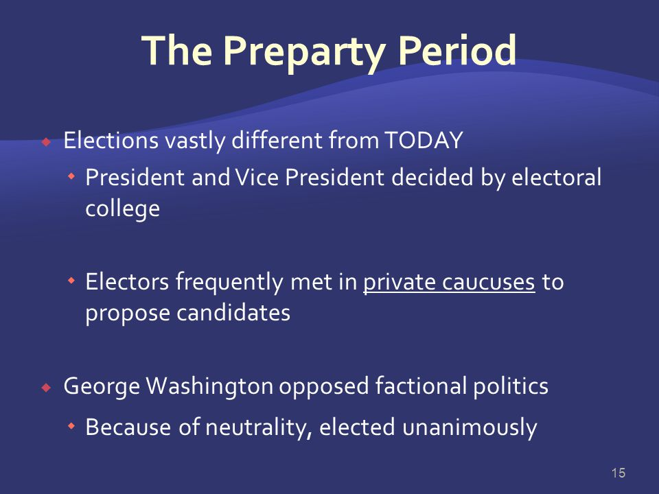 The Preparty Period Elections vastly different from TODAY
