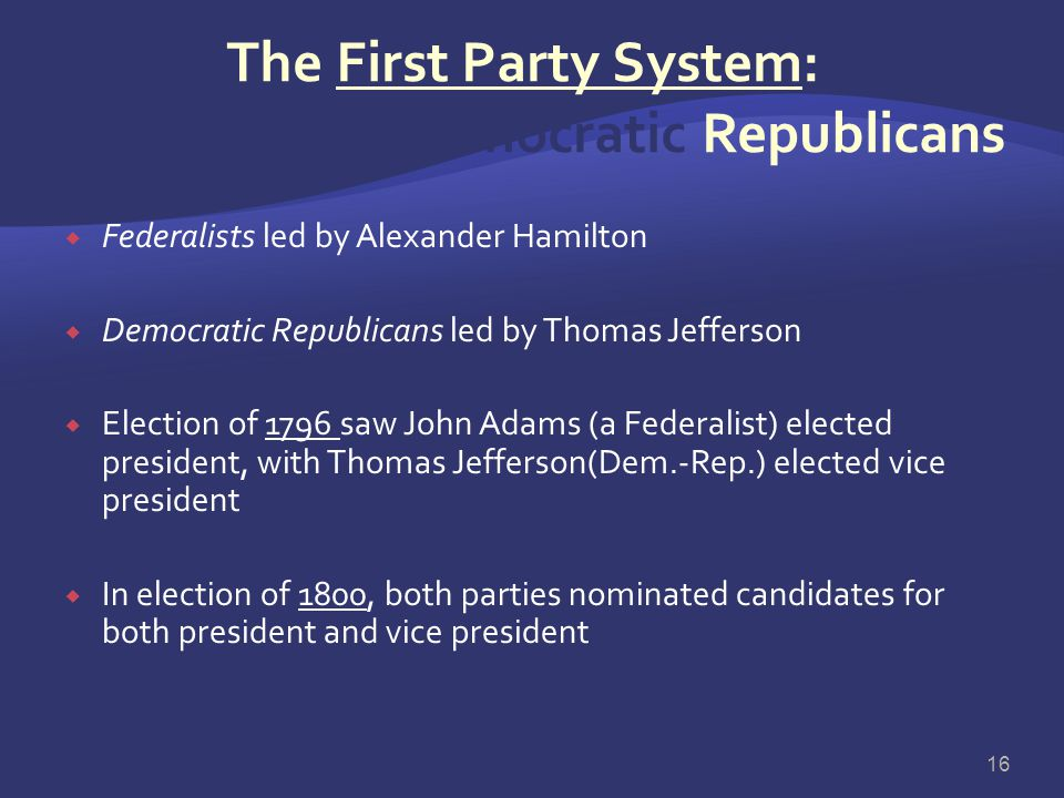 The First Party System: Federalists & Democratic Republicans