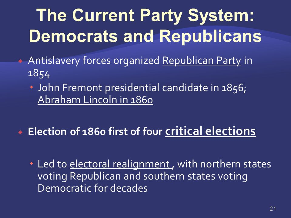 The Current Party System: Democrats and Republicans
