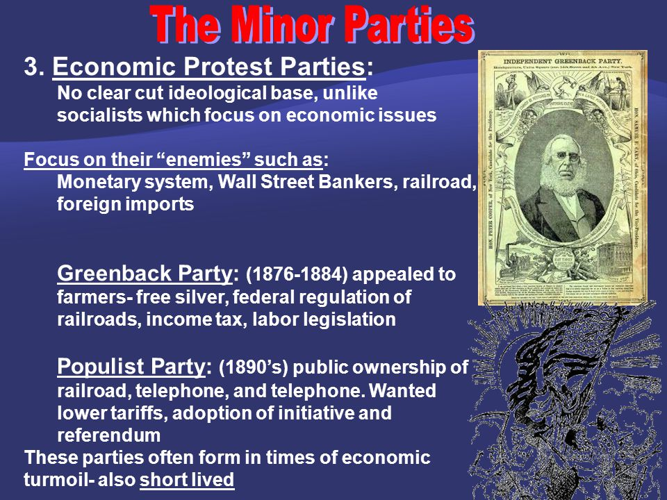 The Minor Parties 3. Economic Protest Parties: