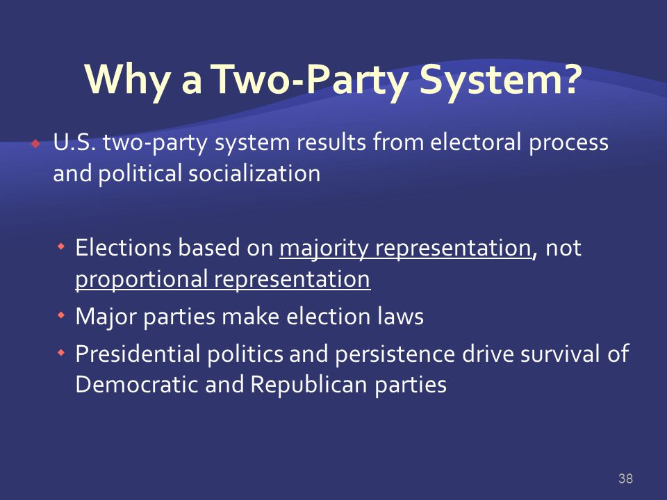 Why a Two-Party System U.S. two-party system results from electoral process and political socialization.