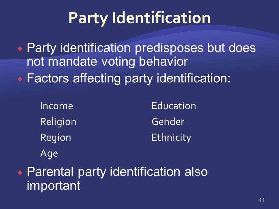 Party Identification Party identification predisposes but does not mandate voting behavior. Factors affecting party identification: