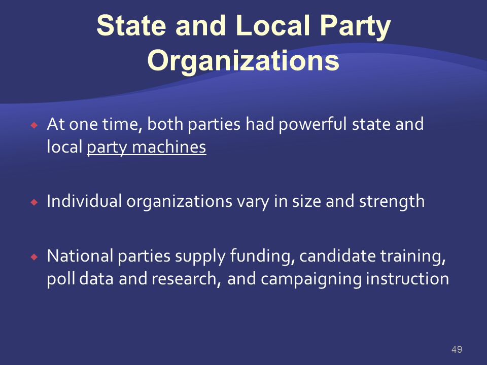 State and Local Party Organizations