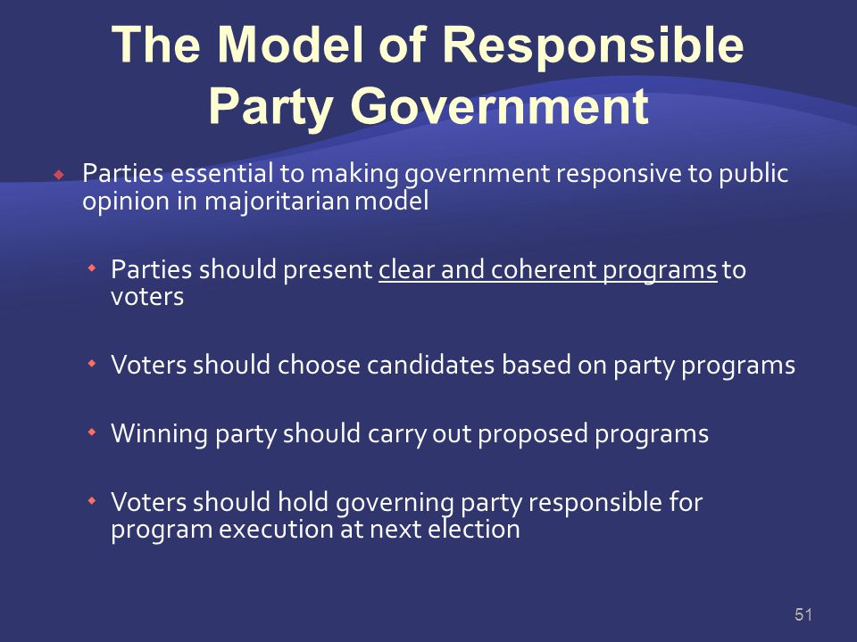 The Model of Responsible Party Government