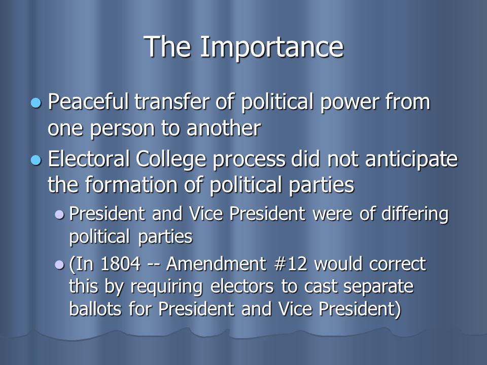 The Importance Peaceful transfer of political power from one person to another.