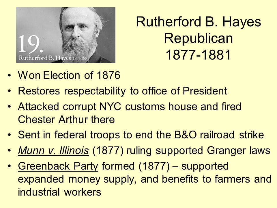 Rutherford B. Hayes Republican 1877-1881