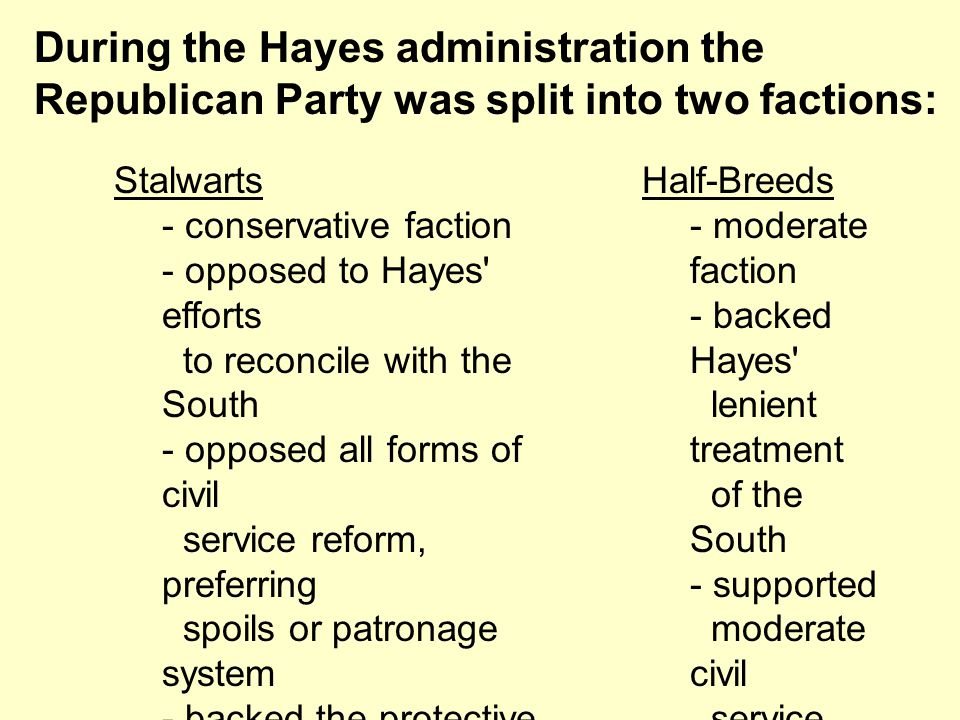 During the Hayes administration the Republican Party was split into two factions:
