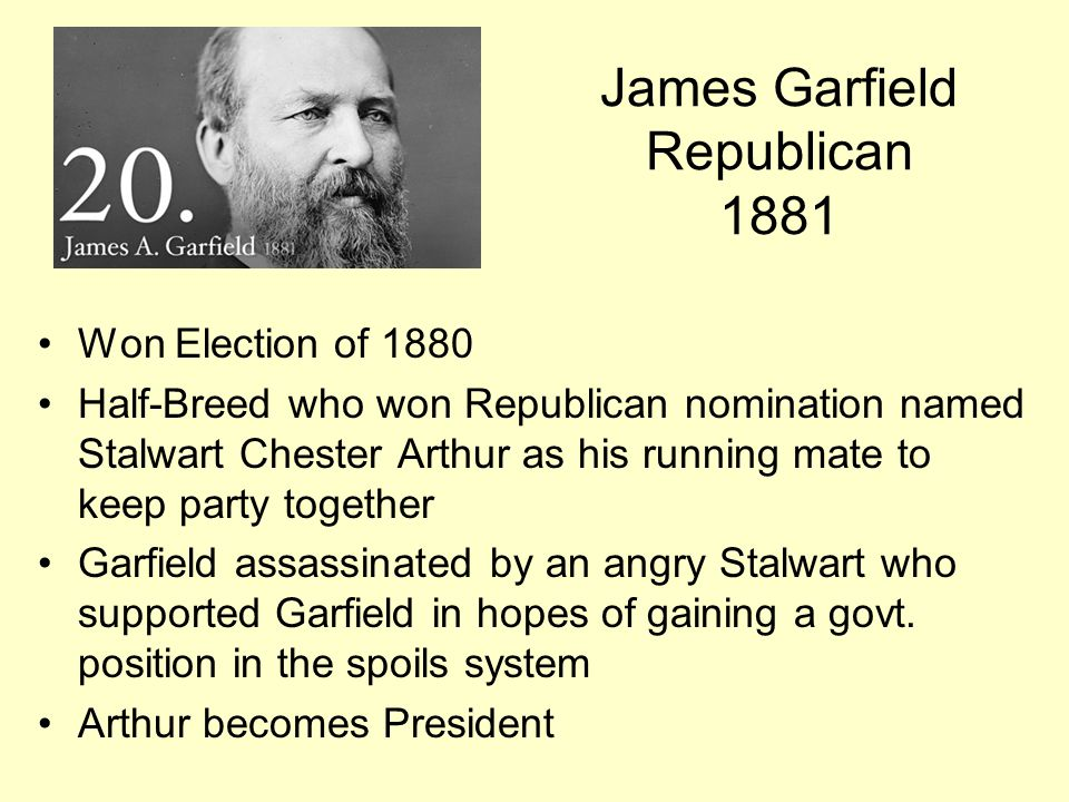 James Garfield Republican 1881
