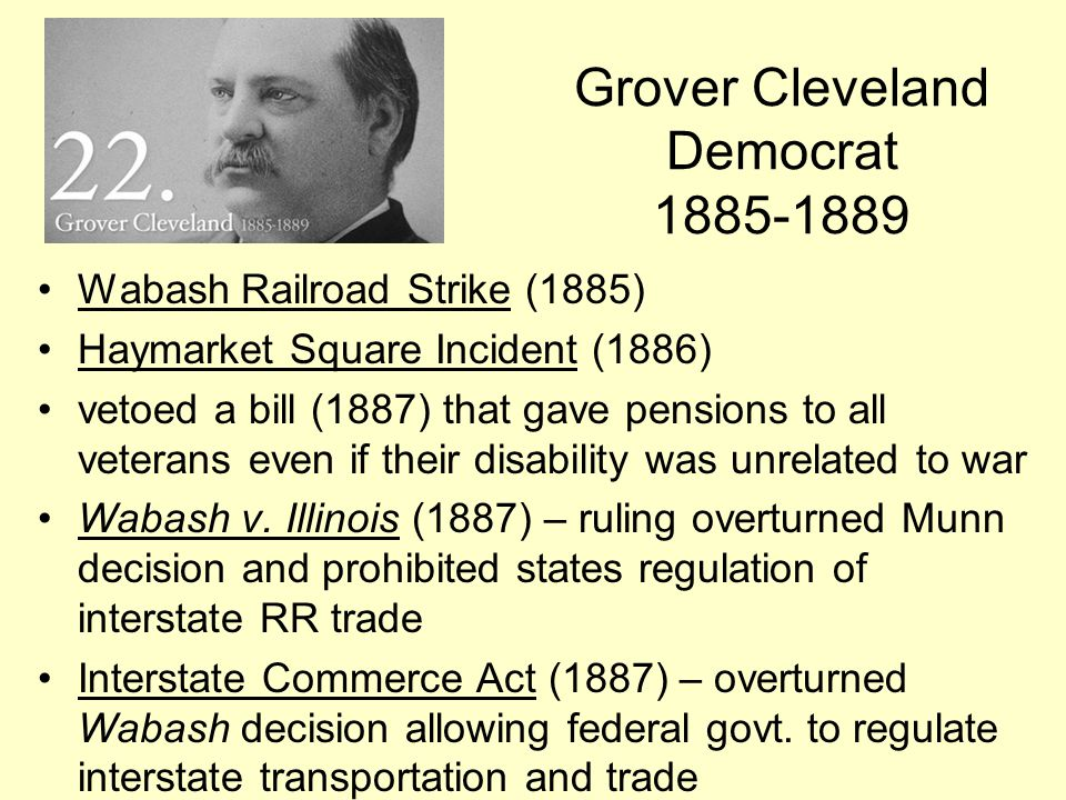 Grover Cleveland Democrat 1885-1889