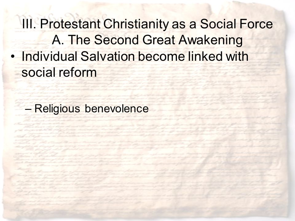 Individual Salvation become linked with social reform