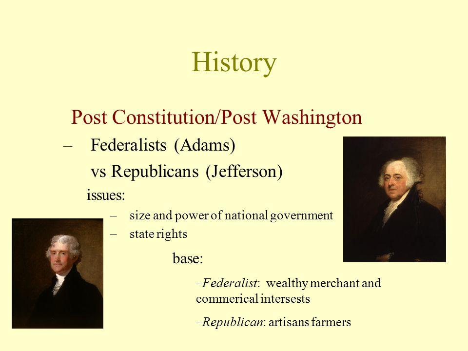 History Post Constitution/Post Washington Federalists (Adams)