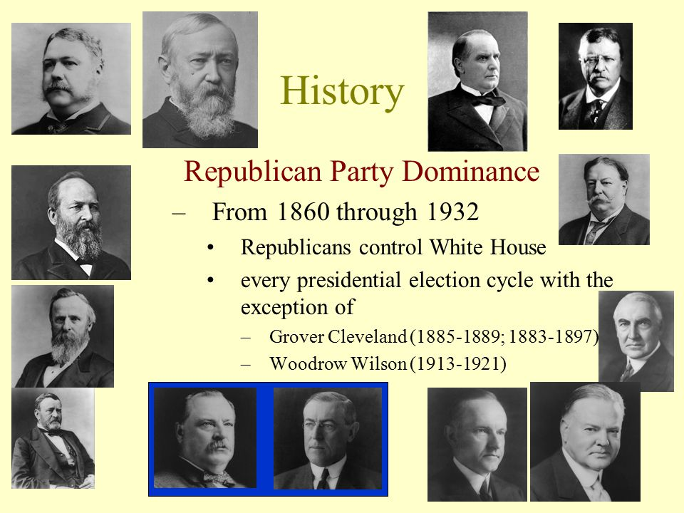 History Republican Party Dominance From 1860 through 1932
