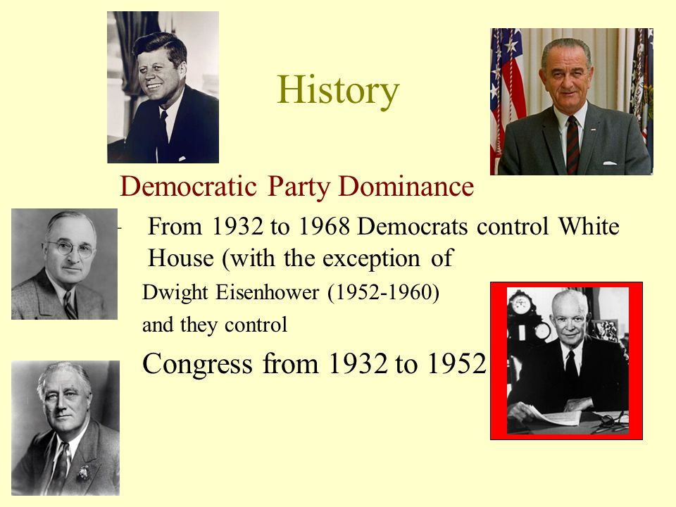 History Democratic Party Dominance Congress from 1932 to 1952