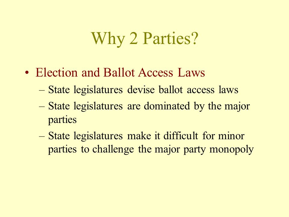 Why 2 Parties Election and Ballot Access Laws
