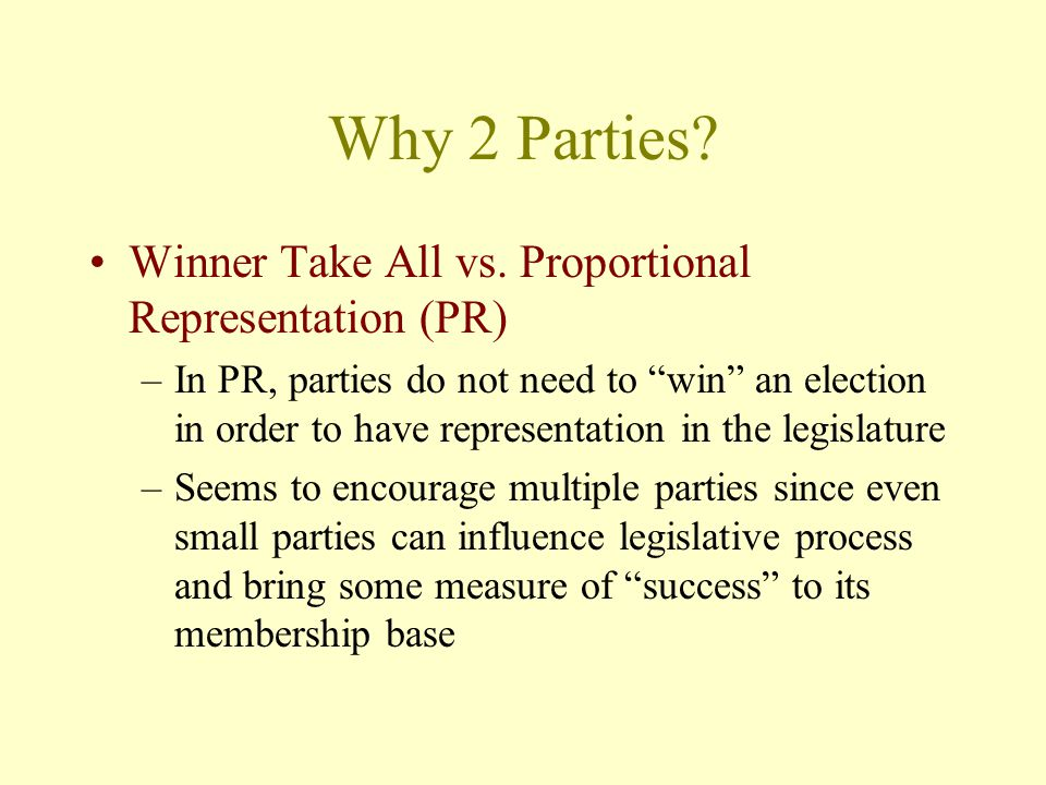 Why 2 Parties Winner Take All vs. Proportional Representation (PR)
