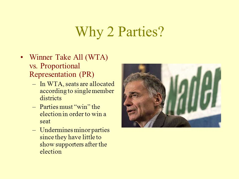 Why 2 Parties Winner Take All (WTA) vs. Proportional Representation (PR) In WTA, seats are allocated according to single member districts.