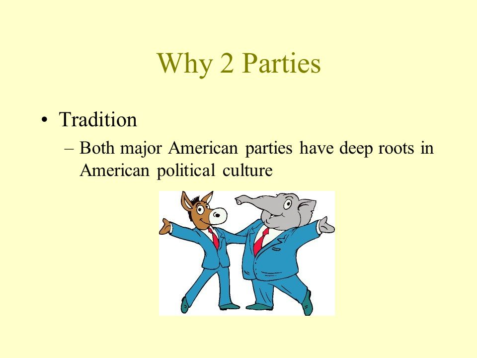 Why 2 Parties Tradition Both major American parties have deep roots in American political culture