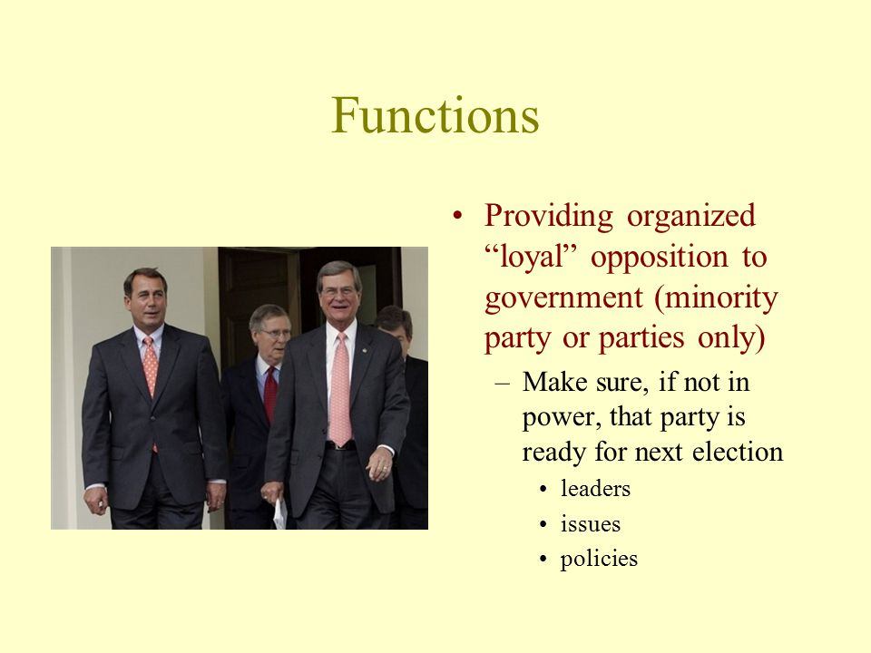 Functions Providing organized loyal opposition to government (minority party or parties only)