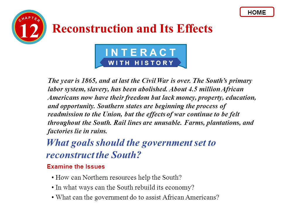 12 Reconstruction and Its Effects I N T E R A C T
