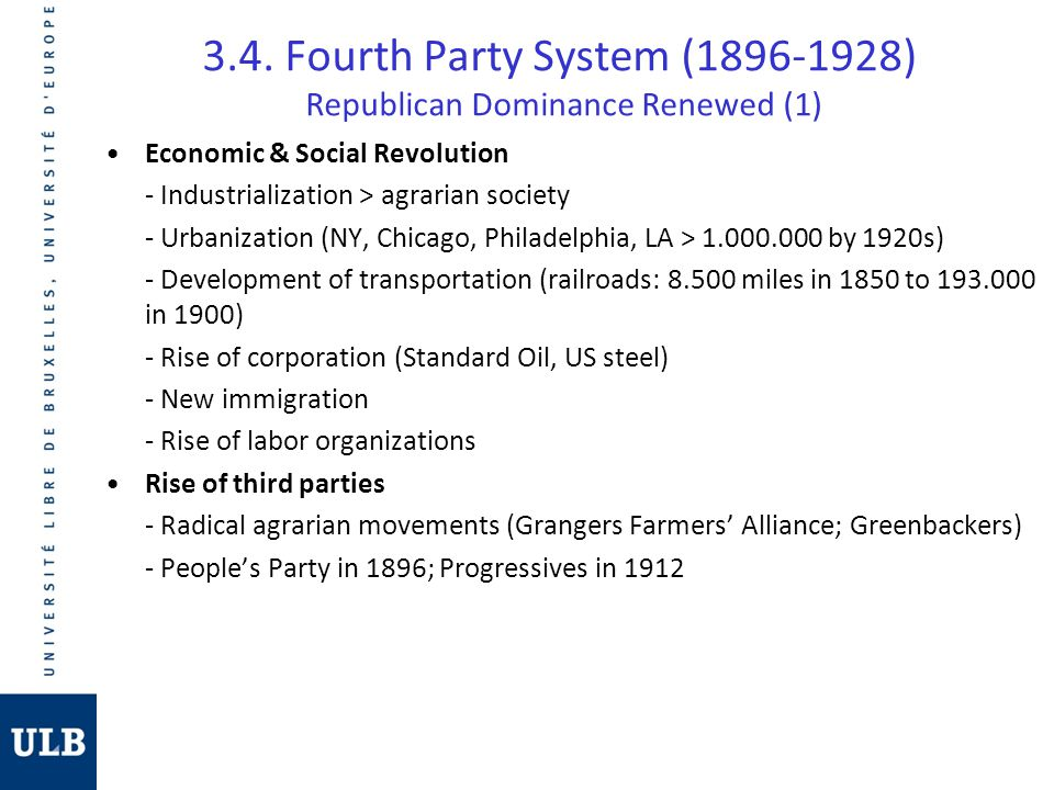3.4. Fourth Party System (1896-1928) Republican Dominance Renewed (1)