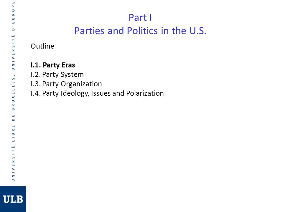 Part I Parties and Politics in the U.S.